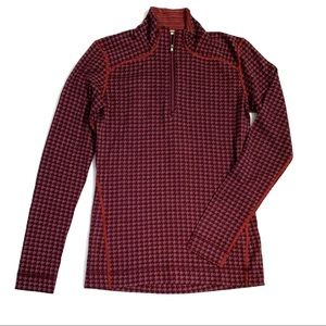 Smartwool Burgundy Print 1/4 Base Layer Top L